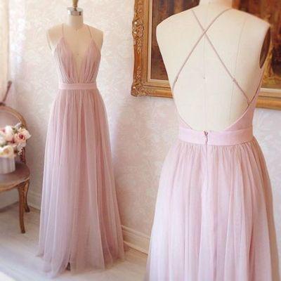 Simple Blush Pink Prom Dresses,A-line Prom Dresses,V-neck Prom Dresses,Spaghetti Straps Prom Dresses,Cross Cross Back Prom Dresses