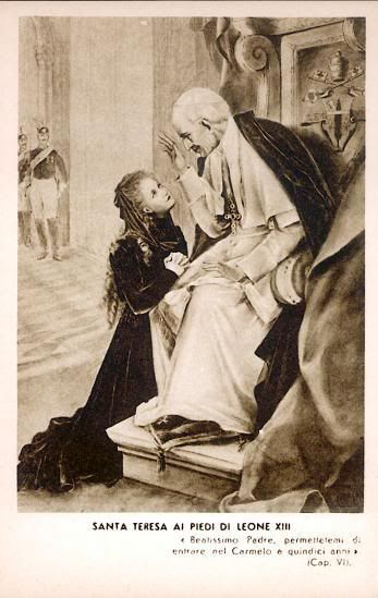 "Depiction of St. Therese asking Pope Leo XIII for permission to enter Carmel even though she was only 15.  Later, that evening, she wrote to her sister Pauline - "" the Pope is so old that you would think he is dead."" Ah, the little flower."