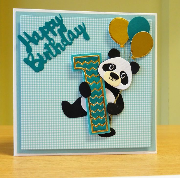 First Birthday Card - Marianne Collectables Panda Die & Tonic Number Die. To purchase my cards please visit CraftyCardStudio on Etsy.com.
