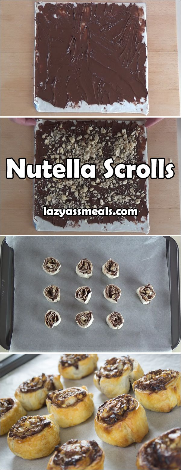 Delicious Nutella scrolls that require just 4 simple ingredients. https://lazyassmeals.com/nutella-scrolls