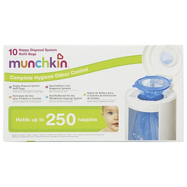 Munchkin Nappy disposal system refill Bags for your baby's nappy disposal bin. Bags that helps to dispose your baby's messy pee and poo diapers. Shop @ http://bit.ly/2oWKj1C #nappydisposalbags #babydirect #munchkin