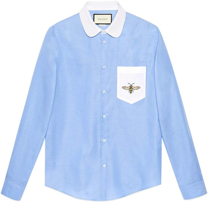Cotton Duke shirt with embroidery  #Gucci #shirt #ShopStyle #MyShopStyle click link to see more of shirt collection
