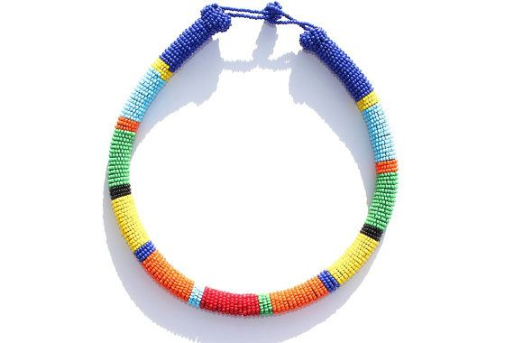 Zulu Inspired Bead Wrapped Necklace