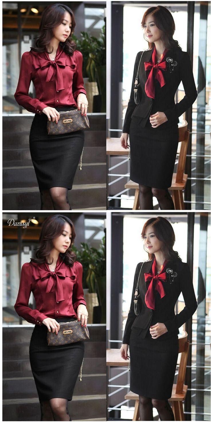 Women Office Lady Work Uniform Bow Knot Silk Blouse Shirt Formal Suit Coat Slim Bodycon Middle long Skirt Form Pants Plus Size