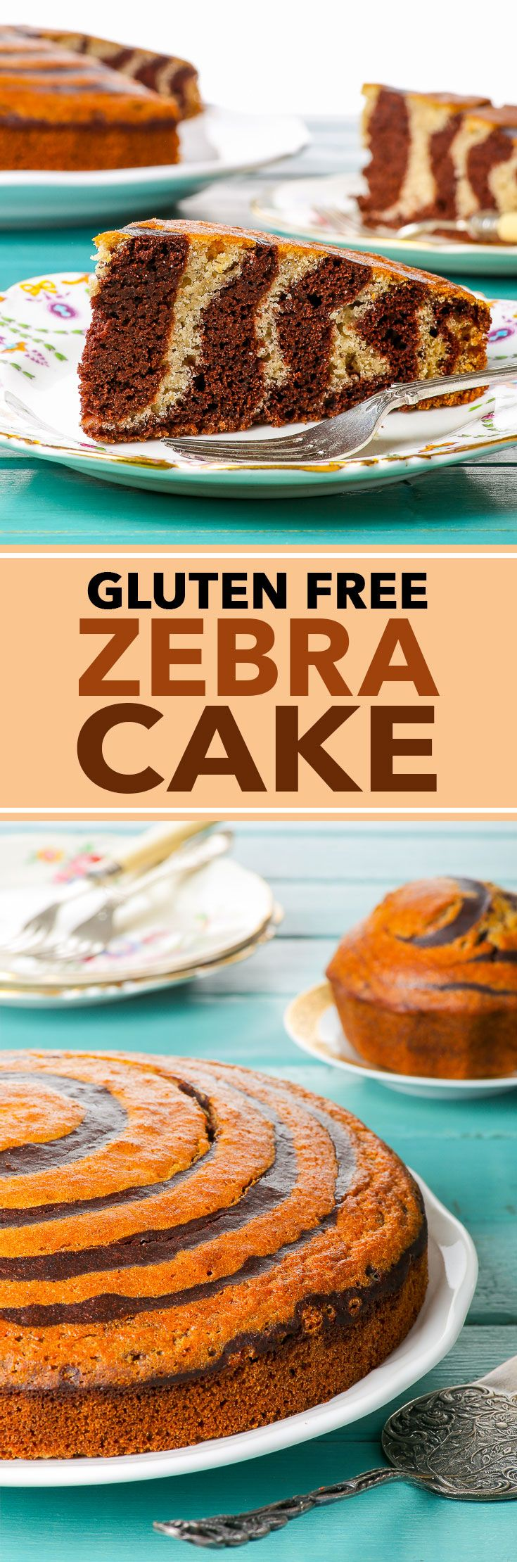 Gluten Free Zebra Cake - This fun and delicious chocolate and vanilla gluten free zebra cake is super easy to make and bound to impress just about anyone. Chocolate and vanilla batters complement each other perfectly in this sweet, moist and airy cake that is suitable for all occasions, from posh afternoon tea to a children's party, on its own or frosted in buttercream, dusted with icing sugar, or smothered in chocolate ganache.