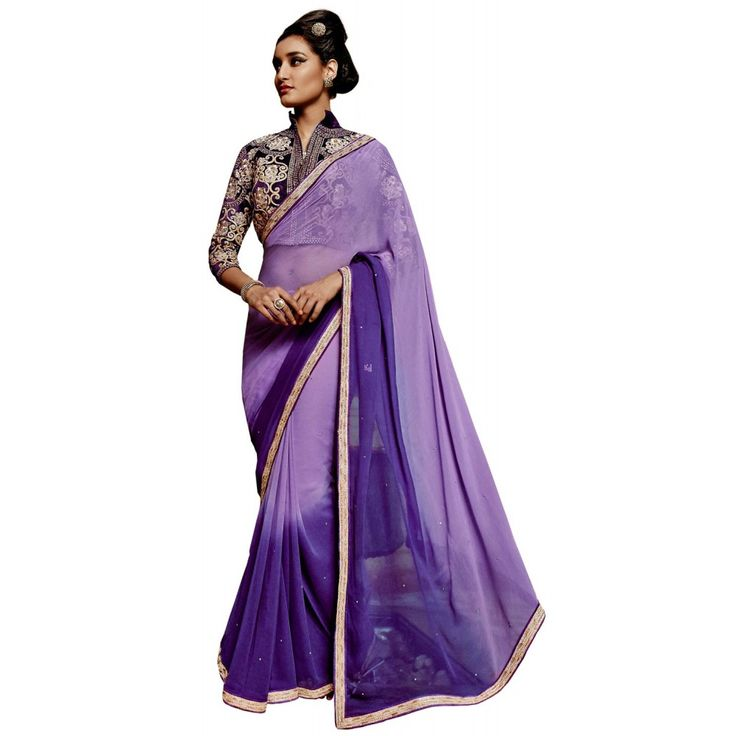 Purple Georgette Casual #Saree With Blouse- $47.10