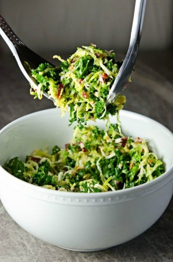 Kale and Brussels Sprouts Salad with Bacon and Pecorino | sugarandgrace.com