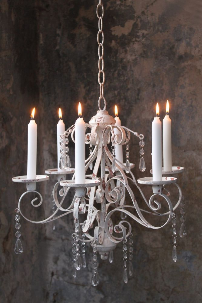 Kerzen Kronleuchter antik shabby weiß Landhaus Kerzenleuchter hängend Decke