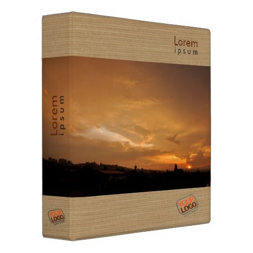 Customizable binder with relaxing sunset colors Fully customizable text and logo on all sides.