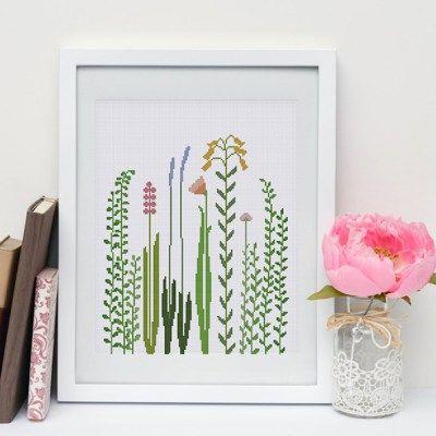 Wildflowers cross stitch pattern modern flower grass design easy beginner