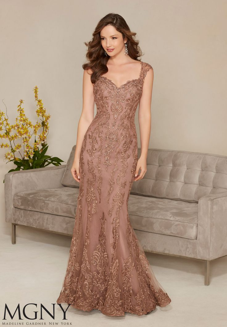 Evening Gowns and Mother of the Bride Dresses by MGNY Net with Beaded and Embroidered Appliqués Colors: Mocha, Blush, Silver.