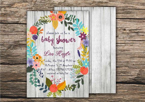 Floral Spring Baby Shower Invitation Printable by MGDigitalHippie