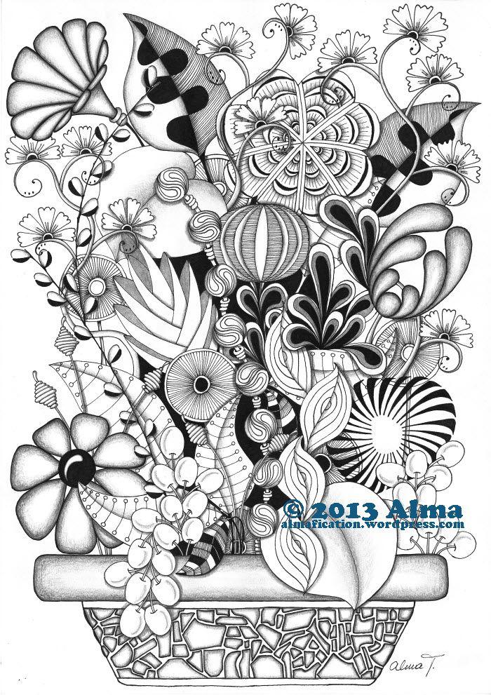 zen doodle coloring pages flower - photo#16