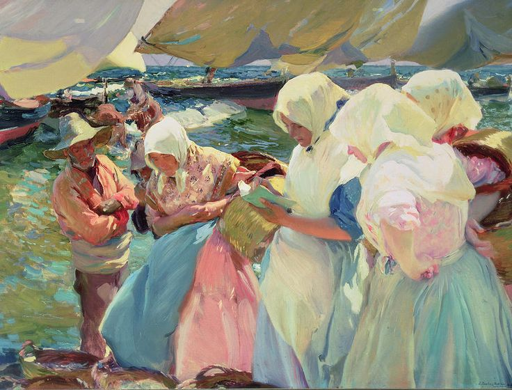 Fisherwomen on the Beach - Joaquin Sorolla  http://www.pbart.com/el-modernismo-from-sorolla-to-picasso-1880-1918-lausanne-switzerland/