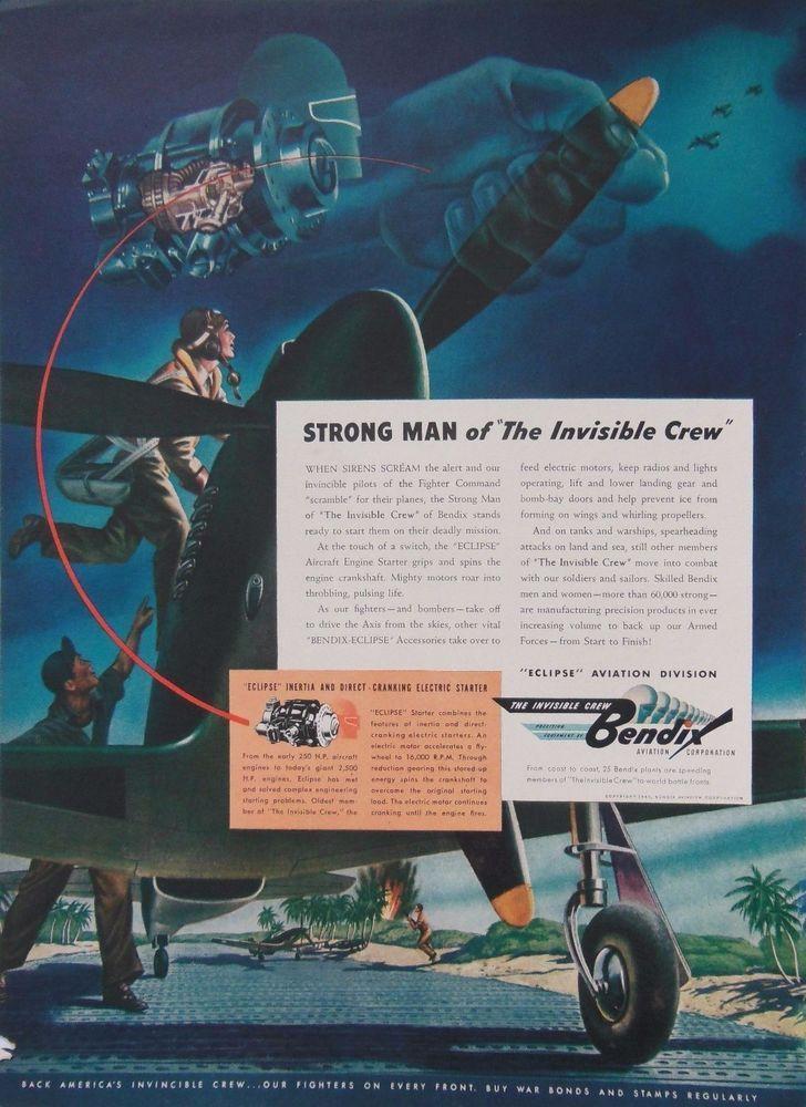 BENDIX ENGINE AD RETRO WW2 WWII FIGHTER PLANE 1940s original vintage advertising
