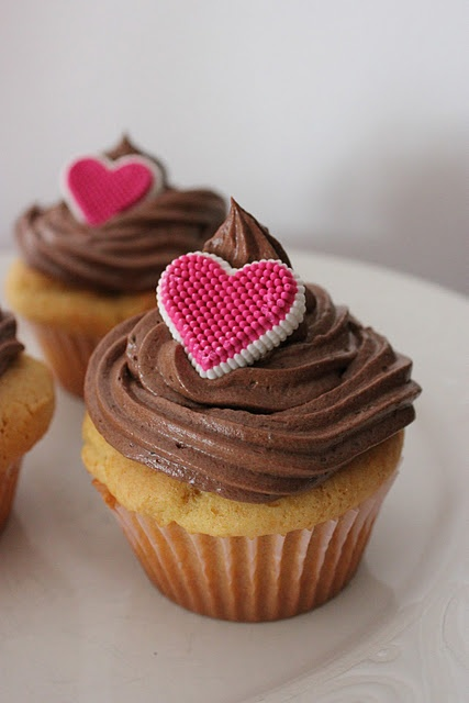 Yum..peanut butter cupcakes with chocolate frosting!