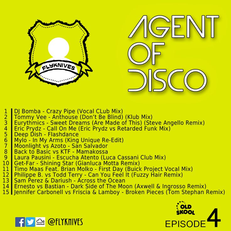 Agent Of Disco 4, one DJ between the house story. #MIXCLOUD link:  http://www.mixcloud.com/FlyKnives/agent-of-disco-4/