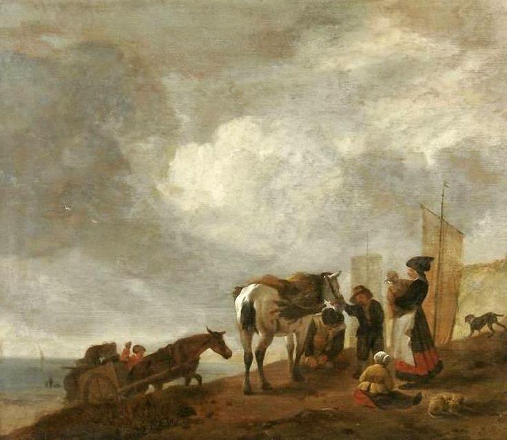 Philips Wouwerman - Figuren op het duin met een moeder en kind, een grijs paard en een kar met netten op de achtergrond