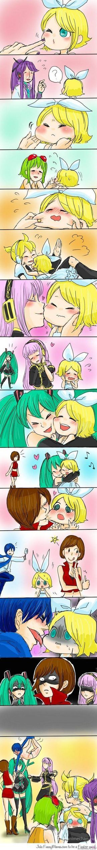 Kagmine Rin i Len, Hatsune Miku, Megurine Luka, Gakupo Kamui, Meiko, Kaito, Megpoid Gumi (Vocaloid)