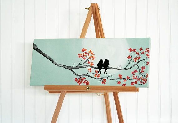 Painting As Wedding Gift : ... Wedding Gift for Couple Love Birds Art Love Painting Anniversary Gift