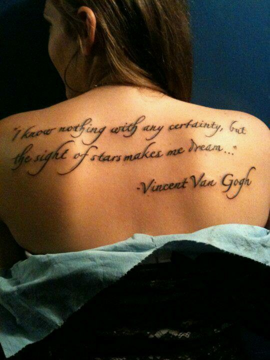 Vincent Van Gogh tattoo quote