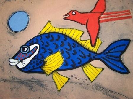 Corneille (1922-2010) was een Nederlandse Cobra-schilder. Aanvankelijk sterk beïnvloed door het werk van Picasso, maakte hij zich in 1948 hiervan los en trad toe tot de Cobra-beweging. Vanaf 1960 viel hij terug op figuratieve kunst, waarbij vrouwen, vogels, bloemen en vaak personages tot zijn artistiek vocabularium behoren. Corneille werd begraven op de begraafplaats in Auvers-sur-Oise, waar in 1890 ook Vincent van Gogh werd begraven.