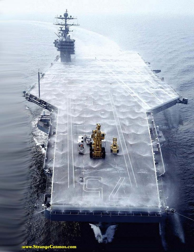 Uss Harry Truman. All those sprayer heads quirting water are part of the N.B.C…