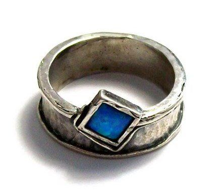 """Silver opal ring, """"Out of bounds"""""""