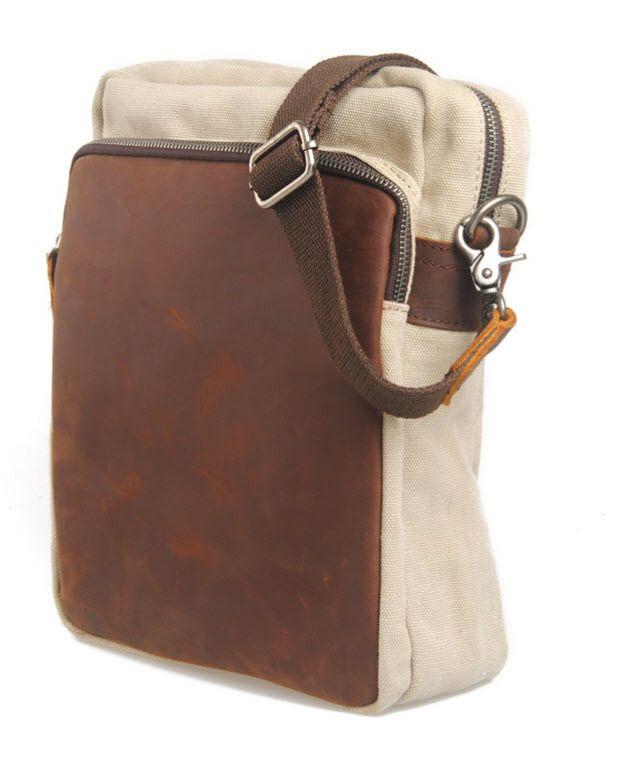 "Virginland ""Daytona"" Vintage Canvas & Leather Vertical Messenger Bag - Khaki Tan - ModernManBags.com"