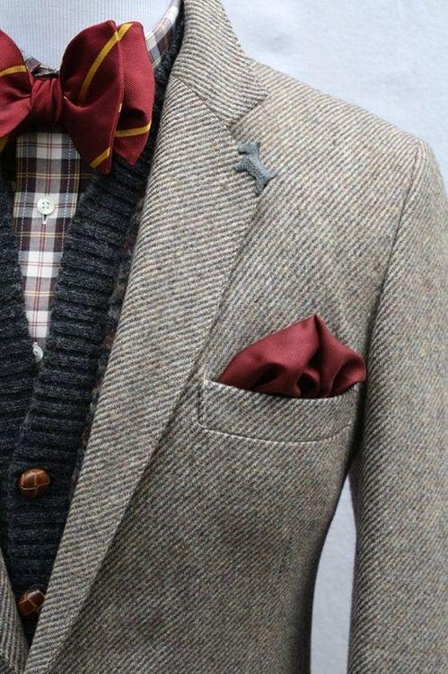 Bow tie + Cardigan + Blazer