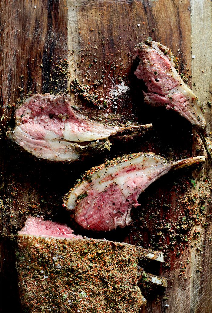 rack of lamb with mint and cumin spice crust.