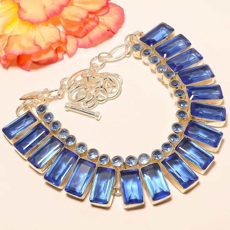 "Tanzanite Quartz 925 Sterling Silver Jewelry Necklace 18"" #Handmade #Choker"
