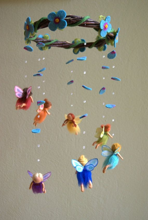 So cute for for a special baby shower! Rainbow fairies mobile felted waldorf inspired by byNaturechild, $170.00