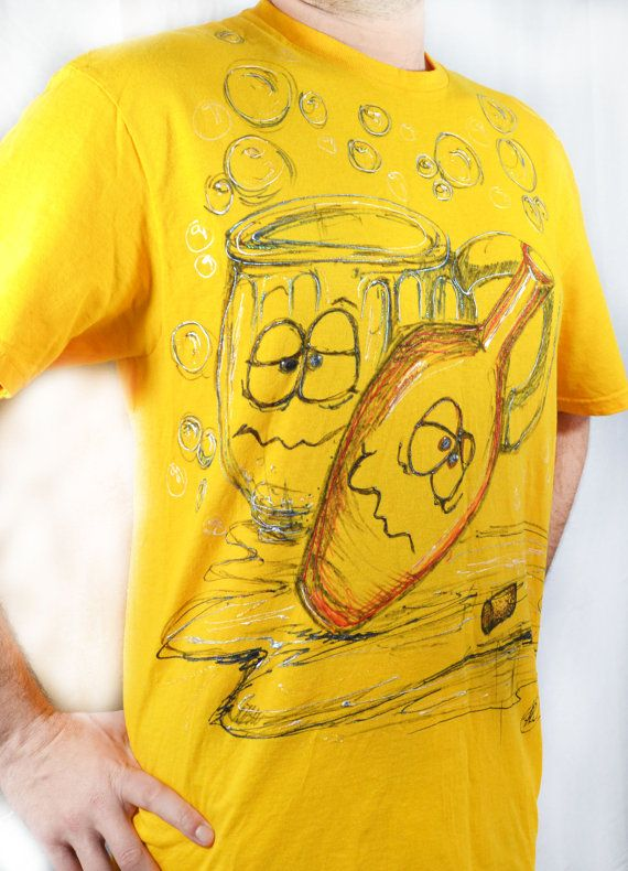 Puff Paint Shirt Upcycled T shirt For Men by theELEPHANTpink, $22.50