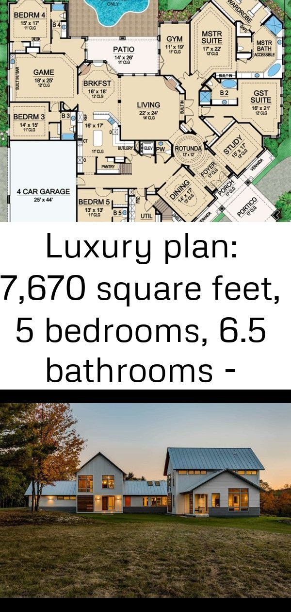 Luxury Plan 7 670 Square Feet 5 Bedrooms 6 5 Bathrooms 5445 00183 1 Polebarnhouses Luxury Plan 7 670 S Luxury Plan Pole Barn Homes Pole Barn House Plans