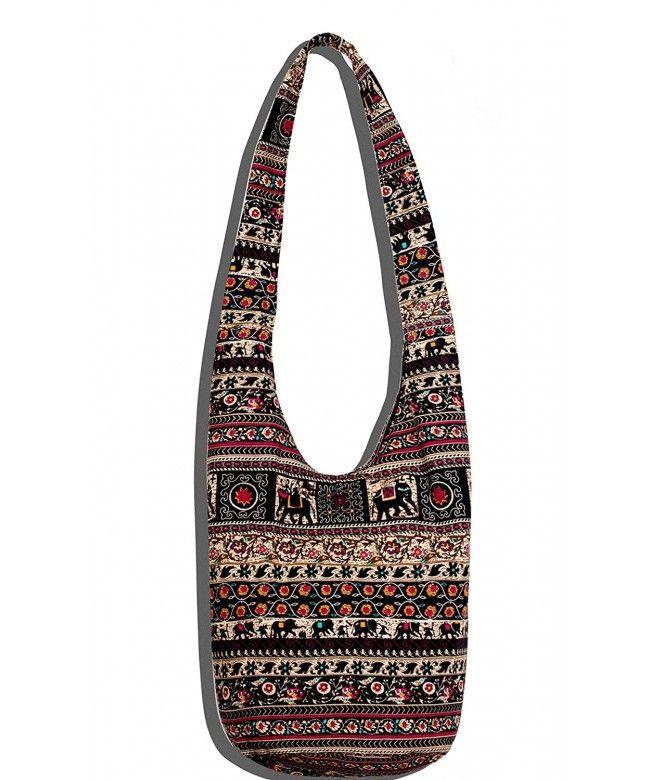 Hippie Crossbody Bag Thai Top Zip Hobo Sling Bag Handmade Hipster Messenger Bag