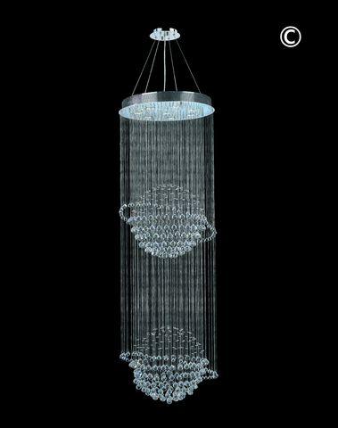 Double Saturn Ball LED Crystal Chandelier - Width:60cm Height:180cm - Designer Chandelier