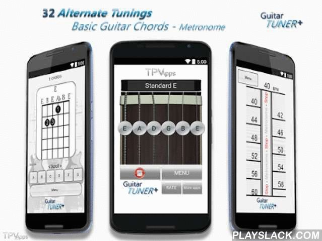 Guitar Tuner Plus (Free)  Android App - playslack.com ,  Guitar Tuner Plus is free, simple and easy to use guitar tuner app, for Android smartphones & tablets. Guitar tuner plus include Standard Tuning (E), and 32 Alternate Tunings, including lowered tunings, open tunings, dropped tunings,Regular tunings and, Instrumental tunings. High quality Audio.Useful tool specially when restringing your guitar, and need to find your tune again.Tunings included:Standard E, D♯/E♭ tuning, D tuning…