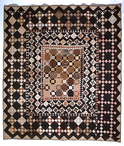 1825 - 1850 Rachel Burr Corwin's Framed-Center Pieced Quilt, Orange Co. NY