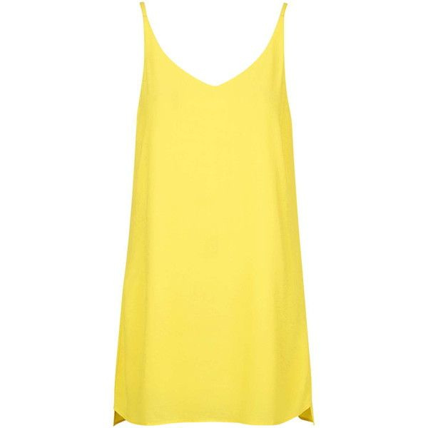 TOPSHOP PETITE High Apex Slip Dress (£34) ❤ liked on Polyvore featuring dresses, petite, yellow, strappy dress, yellow slip dress, topshop dresses, topshop and yellow dress