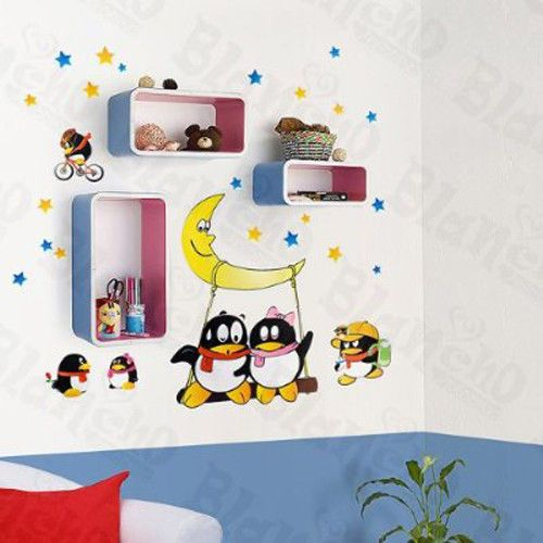 """Awesome Cartoon Penguins - Extra Large Vinyl Wall Stickers/Decals - 23"""" x 36"""" #Blancho"""