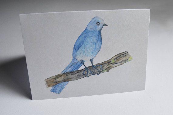 A6 Greeting Card: Watercolour Blue Bird. Blank Inside MelanieReevesArt Etsy