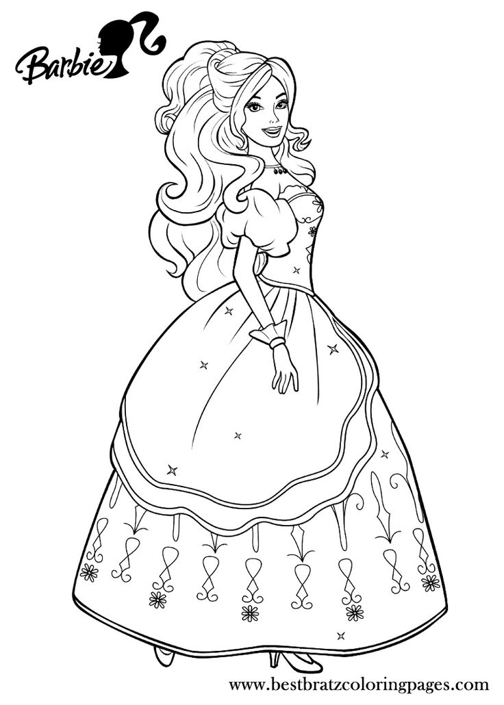 coloring pages princess barbie - photo#7