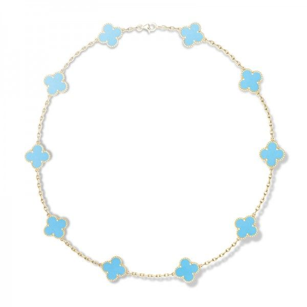 10 Iconic Pieces of Jewelry That Will Never Go Out of Style   The Zoe Report Van Cleef & Arpels Alhambra Necklace Vintage Alhambra Yellow Gold & Turquoise Necklace, Van Cleef & Arpels $10500