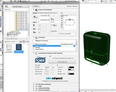 Screenshot from ArchiCAD with a Tork Dispenser as a BIM object