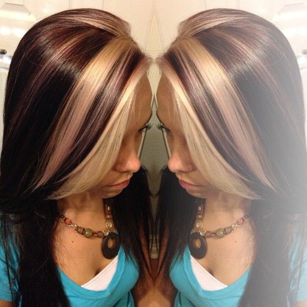 dark brown & blonde