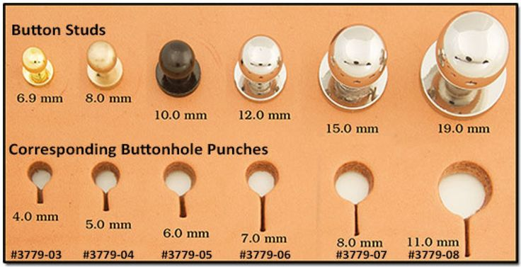 Buttonhole Punch 5mm 3779-04 Button Studs & matching buttonhole punches by Craftool Tandy