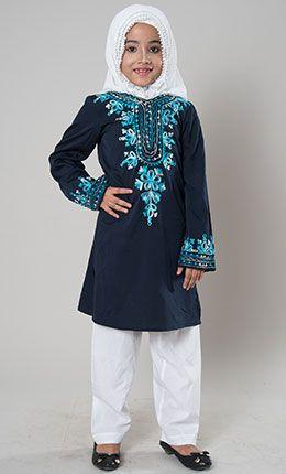 Girls Blue Embroidered Shalwar Kameez