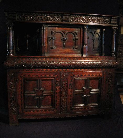 "Small Carved Oak And Inlaid Court Cupboard Ca1640 England. 51.5""H x 53.5""W x 18""D."