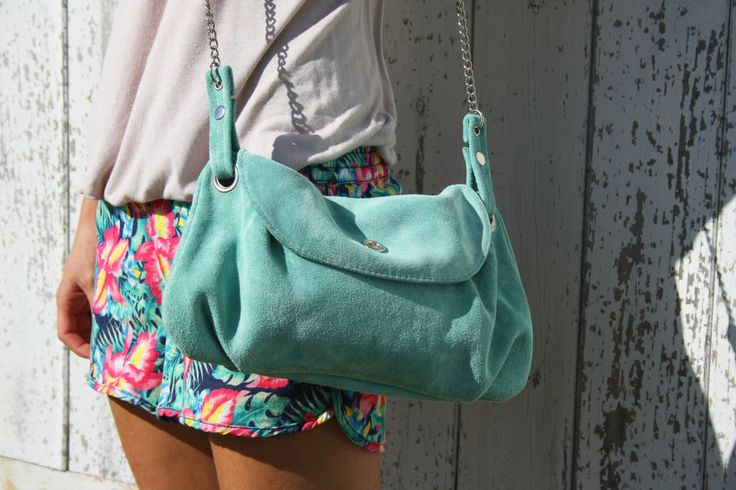 Mint green suede bag - crossbody everydat suede bag in mint green / Bolso de ante verde menta - suede collection by BarnetoShop on Etsy https://www.etsy.com/listing/184607034/mint-green-suede-bag-crossbody-everydat